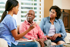 caregiver discussing care plan to the senior couple